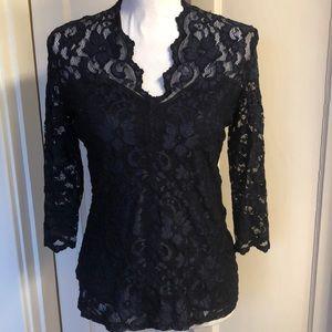 Karen Kane Black Lace Lined Top